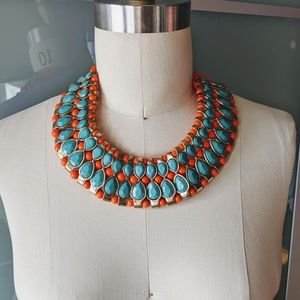 Barneys New York Blue Orange Gold Collar Necklace.